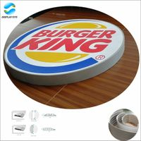 Aluminum material double sided curved shape light box for advertising usage