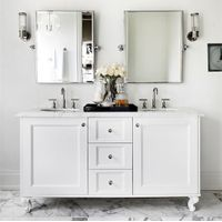 2017 White Solid Wood Bathroom Vanity Cabinet for North America