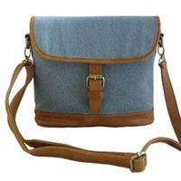 Denim buckle satchel handbag