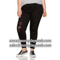 2019 hot sales women sexy black hole skinny jeans ,women sexy denim pants women trousers