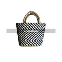 Palm leaf striped bag