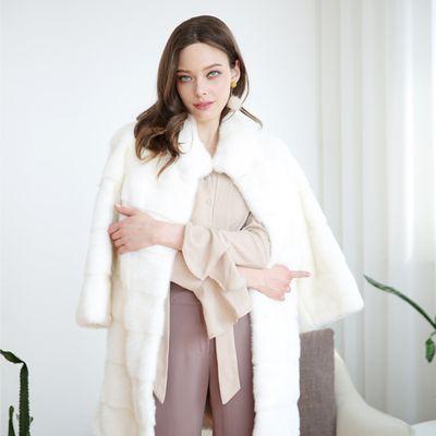 Horizontal Full Skin Real Mink Coat (P182)