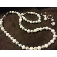 White/gray pearl mixed silver 92.5 Neceklace sets
