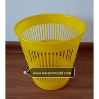 yellow Reticular style plastic dustbin mould