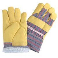 """Men's 10.5"""" yellow leather imtation and stripe cotton back full liner warming winter gloves"""