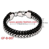 balck and silver stainless steel fashion bracelet