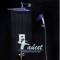 "Shower Valve Trim Kits With Tub Spout 12"" LED Rain Shower Head AT-012"