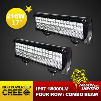 """Cool 17"""" 216W High Power Car Truck Offroad LED Light Bars Combo Beam 4 Rows"""