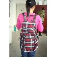 fashion plaid cotton canvas backpack