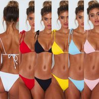 Wholesale or OEM seersucker swimwear fabric summer water sport triangle bikini top and bottom
