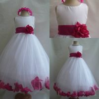 Real Picture High Quality Bow Sash Jewel White Tulle Flower girl Dress thumbnail image