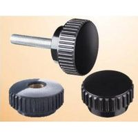 Knurled grip knobs with threaded stud, steel zinc plated