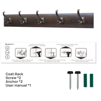 GREATIM GT-CH009, Trench Coat Rack, 5 Double Prong/ Red Copper Hooks thumbnail image