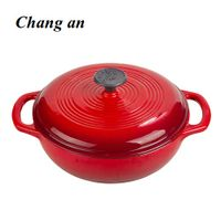 enameled cast iron dutch oven casserole with dual loop handle 23cm