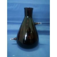 FILTERING FLASK, amber glass, withtubulature at upper side and at bottom thumbnail image