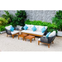 SIMPLE OUTDOOR SOFA SET WITH ROPE AND TEAK WOOD RASF-111