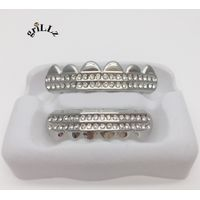 Grillz Brand REAL SHINNY SILVER Iced Out GRILLZ CZ Icy Premium Tooth Mouth Teeth Hip Hop Bling Grill