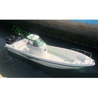 fiberglass fishing boat with twin engines