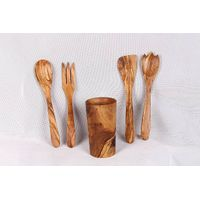 Olive wood utensils -Salad Server (Spoon, Spatulas, Fork. Salad Fork)