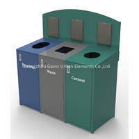 3 Compartments Outdoor Metal Recycling Trash Bin Garbage Can