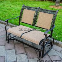 2-seater cast aluminum rocking chair loveseat glider bench in sling fabric seat& back for patio/outd