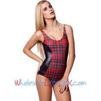 Wholesale 2014 Women's One Piece Red &Black Tartan Vs Wet Look Swimwear OPM539 thumbnail image