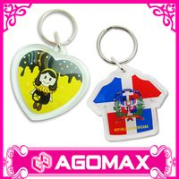 Wholesale custom printed promotional plastic acrylic keychain