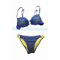 Brand New Ladies Fashion Bikini Hallow Out Push Up Cup Fluorescent Contrast Color Chic Sexy Swimwear