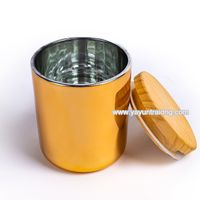 Luxury Electroplated Glass Candle Jar with Sealed Wooden Lid