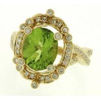 1.25 ct Natural Diamond Peridot 14k Yellow gold Cocktail ring