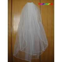 2014 In Stock Wholesale Price Ivory/White Tulle Silk Ribbon Bridal Accessories Bridal Veil with Comb