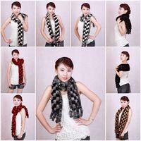 Mink Fur Scarves Mink Fur Scarf Mink Fur Wraps Fur Shawl Mink Knitted Scarf 6 Piece/Lot 6 Colors