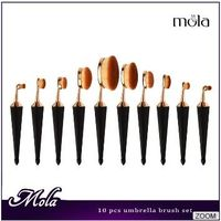 2017 wholesale best selling products 10 pcs umbrella oval makeup brush set available