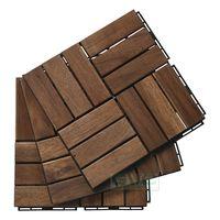 Acacia wood deck tile 12 slats from Vietnam