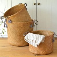 Straw Basket With Handle