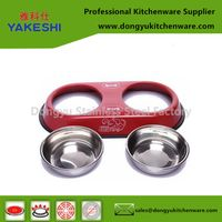 customized colour coated metal stainless pet feeder dog water bowl