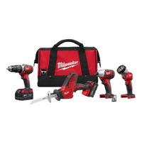 Milwaukee 2695-24 M18 18V Cordless Power Tool Combo Kit with Hammer Drill, Impact Driver, Reciproca thumbnail image