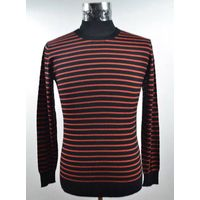 12STC0523 men's scoop neck striped sweater