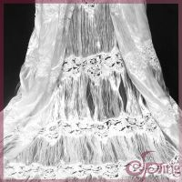 embroidered mesh lace fabric with tassel fringe
