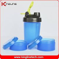 600ml plastic protein shaker bottle with stainless blender ball  (KL-7050)