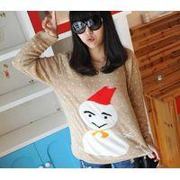 12STC0758 white dotted girls christmas knitting sweater thumbnail image
