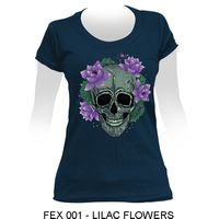 High Quality Printed Cotton Female T-shirt - LILAC FLOWERS