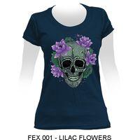 High Quality Printed Cotton Female T-shirt - LILAC FLOWERS