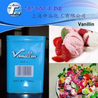 With Sweet creamy vanilla caramel odor natural flavour vanillin and vanilla powder