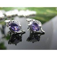 Oval Purple Amethyst Stud Earrings 3592