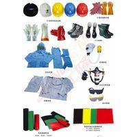 safety gloves, helmet, boots, glasses, mask, cloths