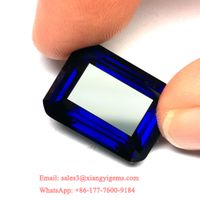 Big Size Emerald Cut Royal Blue Synthetic Corundum