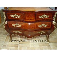 Louis xv bombe commode chest of drawers with bronze
