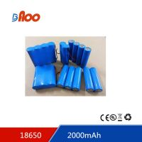 High quality Li-ion18650 battery pack 3.7V 2000mAh rechargeable battery