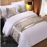 RAYUAN Champagne Floral Bedspreads Bed Runner Throw Bedding Single Queen King Bed Cover Towel Home H thumbnail image